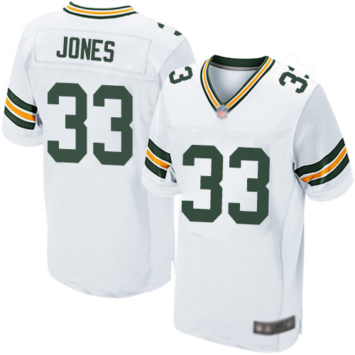 Men's Green Bay Packers #33 Aaron Jones Road White Elite Football Alternate Jersey