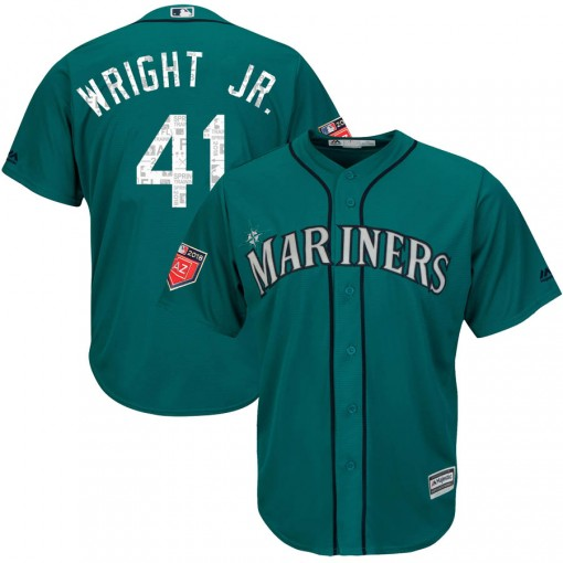 Youth Seattle Mariners #41 Mike Wright Jr. Replica Aqua Cool Base 2018 Spring Training Jersey