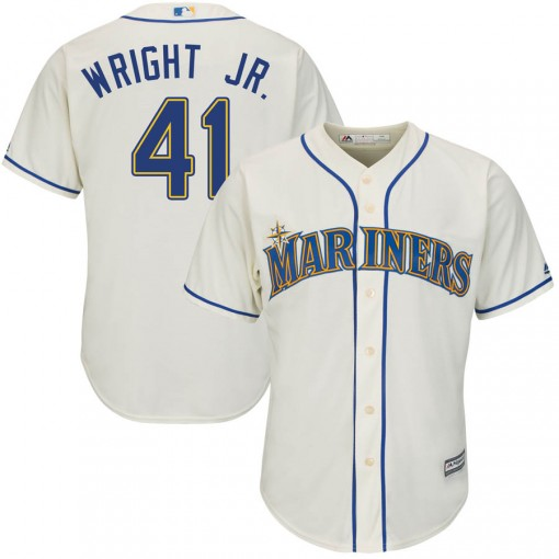 Youth Seattle Mariners #41 Mike Wright Jr. Replica Cream Cool Base Alternate Jersey