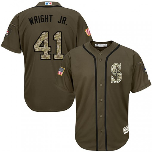 Youth Seattle Mariners #41 Mike Wright Jr. Replica Green Salute to Service Jersey