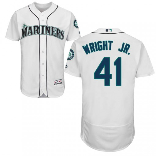 Youth Seattle Mariners #41 Mike Wright Jr. Authentic White Flex Base Home Collection Jersey