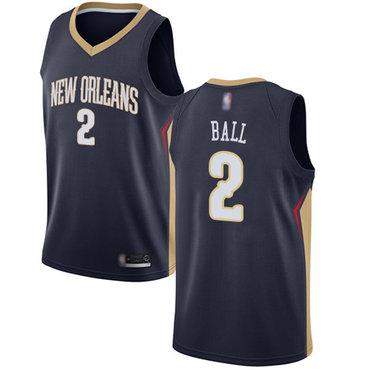 Pelicans #2 Lonzo Ball Navy Basketball Swingman Icon Edition Jersey