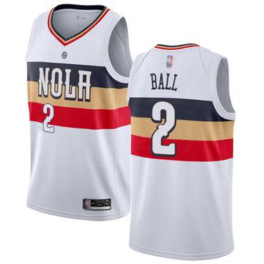 Pelicans #2 Lonzo Ball White Basketball Swingman Earned Edition Jersey