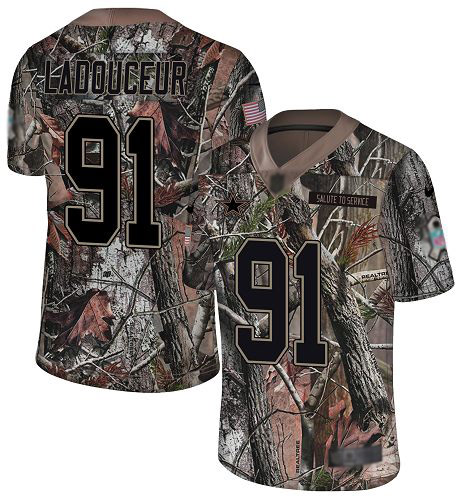 Dallas Cowboys #91 L. P. Ladouceur Men's Camo Limited Rush Realtree Football Jersey