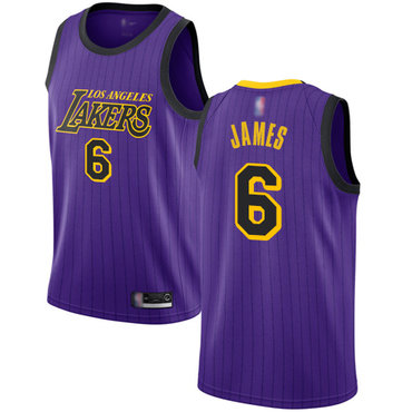 Lakers #6 LeBron James Purple Basketball Swingman City Edition 2018-19 Jersey