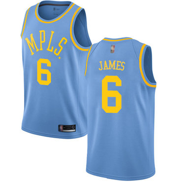 Lakers #6 LeBron James Royal Blue Basketball Swingman Hardwood Classics Jersey
