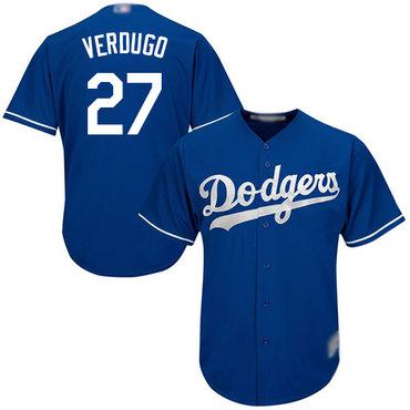 Dodgers #27 Alex Verdugo Blue New Cool Base Stitched Baseball Jersey