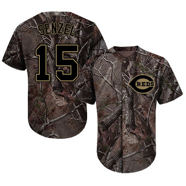 Reds #15 Nick Senzel Camo Realtree Collection Cool Base Stitched Baseball Jersey