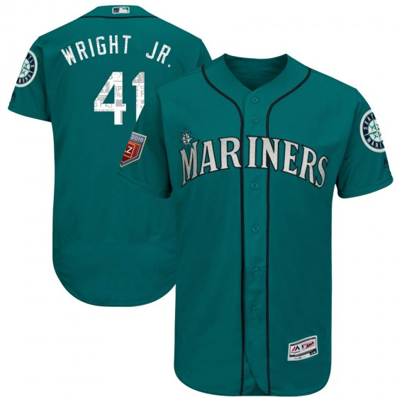 Men's Authentic Seattle Mariners #41 Mike Wright Jr. Majestic Flex Base 2018 Spring Training Aqua Jersey