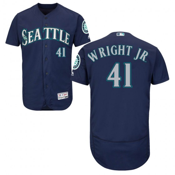 Men's Authentic Seattle Mariners #41 Mike Wright Jr. Majestic Flex Base Alternate Collection Navy Jersey