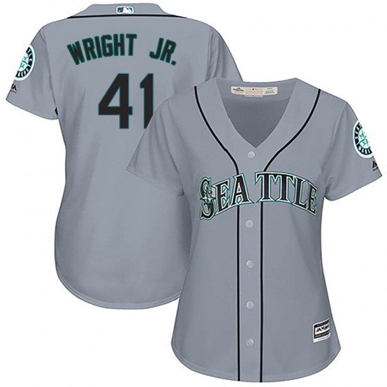Women's Authentic Seattle Mariners #41 Mike Wright Jr. Majestic Cool Base Road Gray Jersey