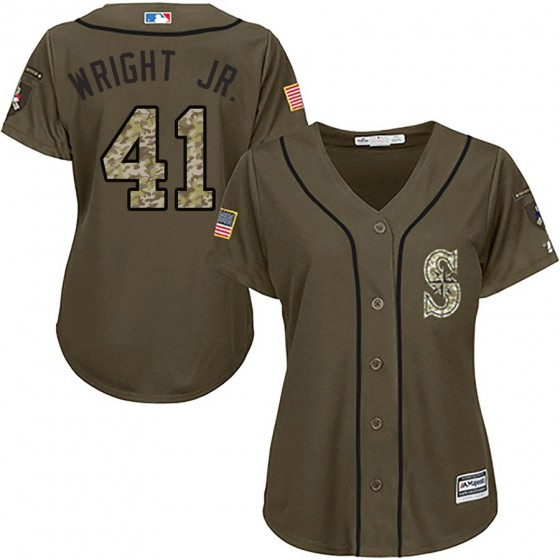 Women's Authentic Seattle Mariners #41 Mike Wright Jr. Majestic Salute to Service Green Jersey