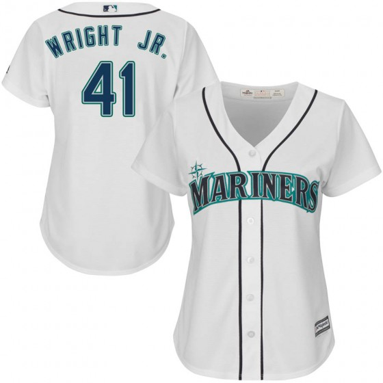 Women's Authentic Seattle Mariners #41 Mike Wright Jr. Majestic Cool Base Home White Jersey