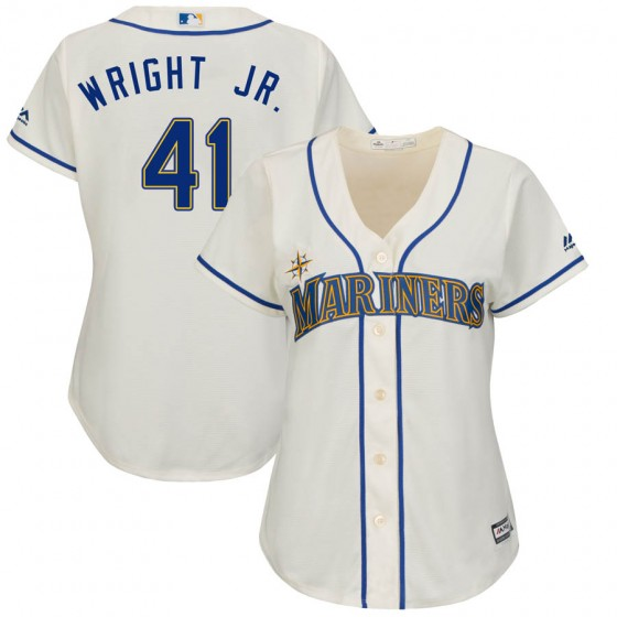 Women's Authentic Seattle Mariners #41 Mike Wright Jr. Majestic Cool Base Alternate Cream Jersey
