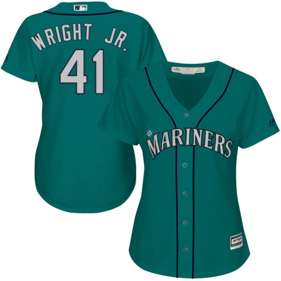 Women's Authentic Seattle Mariners #41 Mike Wright Jr. Majestic Cool Base Alternate Green Jersey