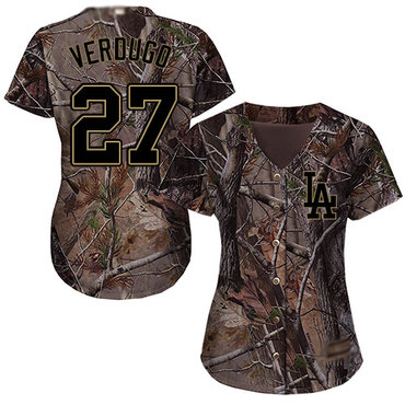 Dodgers #27 Alex Verdugo Camo Realtree Collection Cool Base Women's Stitched Baseball Jersey
