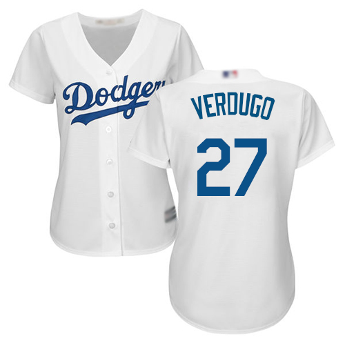 Dodgers #27 Alex Verdugo White Home Women's Stitched Baseball Jersey