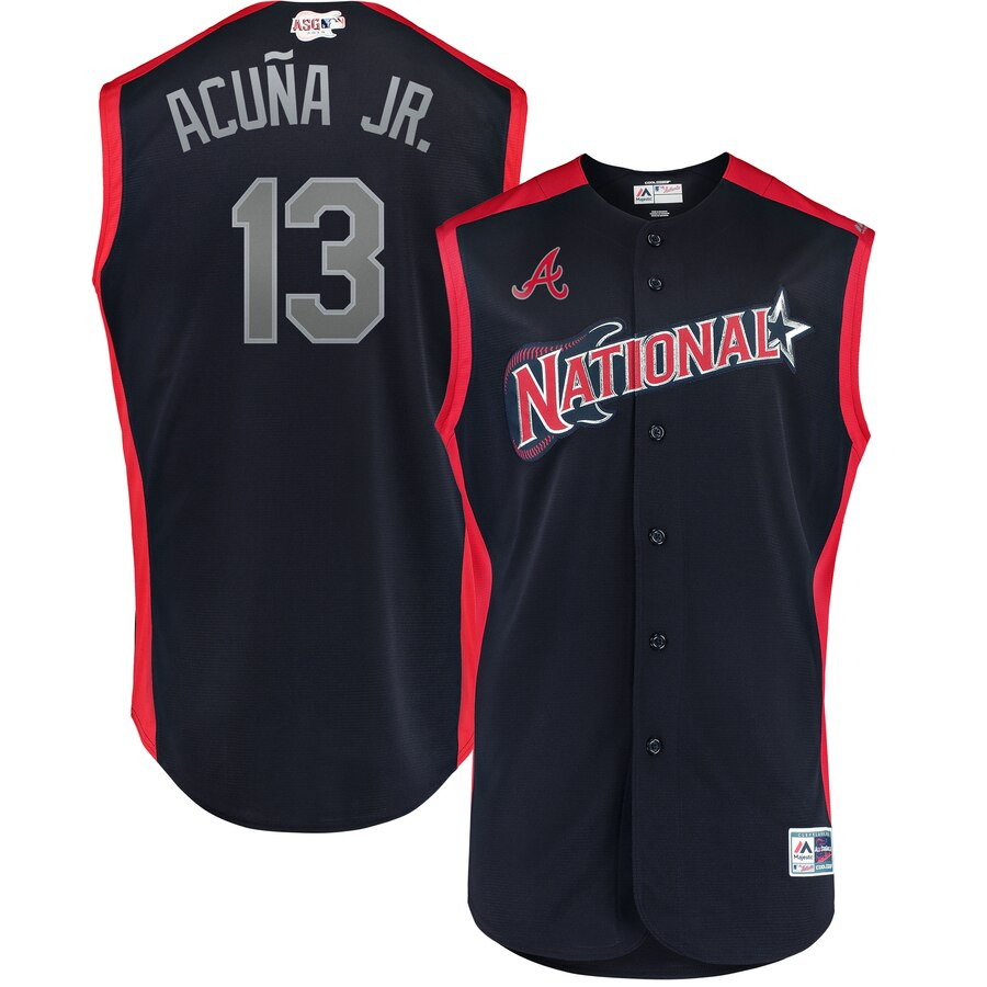 MLB National League 13 Ronald Acuña Jr. Navy 2019 All-Star Game Men Jersey