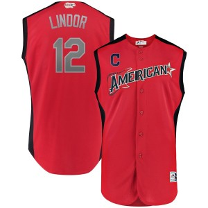 MLB American League 12 Francisco Lindor Red 2019 All-Star Game Men Jersey