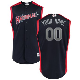Men's National League Majestic Navy Red 2019 MLB All-Star Game Workout Custom Jersey