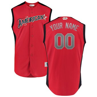 Men's American League Majestic Red Navy 2019 MLB All-Star Game Workout Custom Jersey