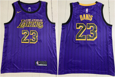 Lakers 23 Anthony Davis Purple City Edition Nike Swingman Jersey