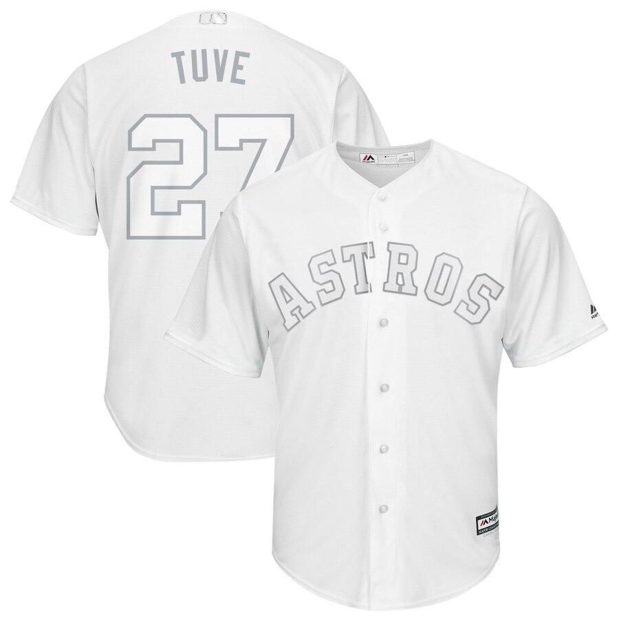 Men's Houston Astros 27 Jose Altuve Tuve White 2019 Players' Weekend Player Jersey