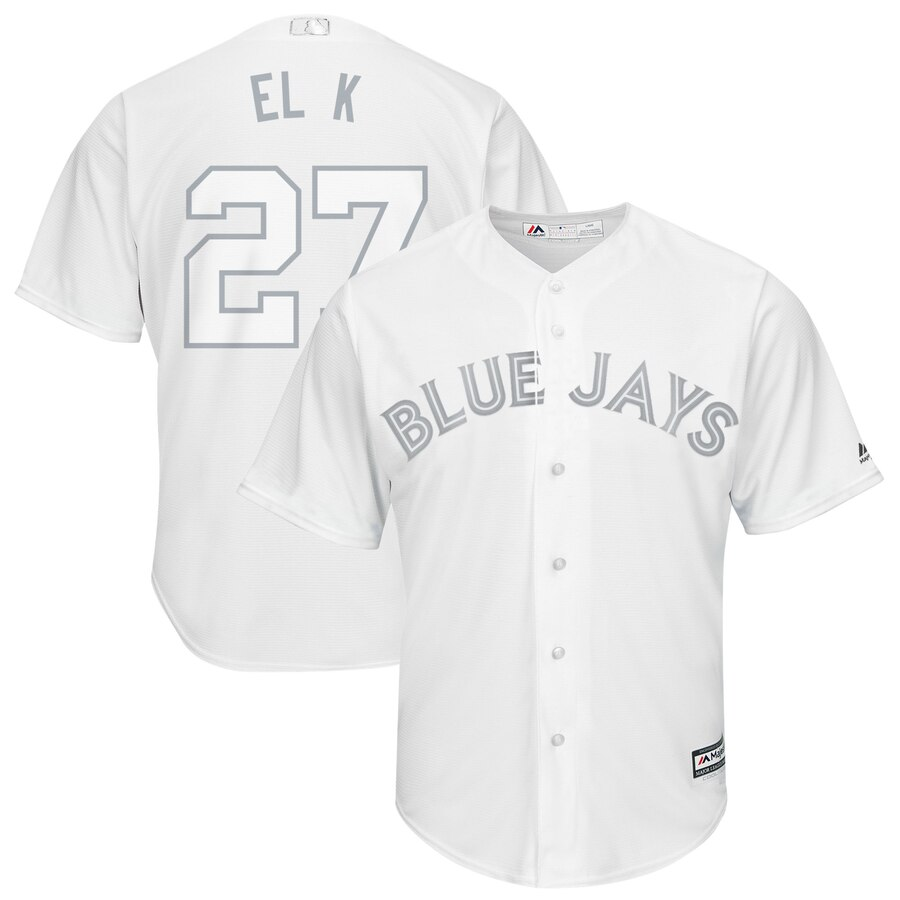 Men's Toronto Blue Jays 27 Vladimir Guerrero Jr. El K White 2019 Players' Weekend Player Jersey