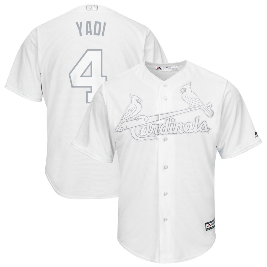 Men's St. Louis Cardinals 4 Yadier Molina Yadi White 2019 Players' Weekend Player Jersey