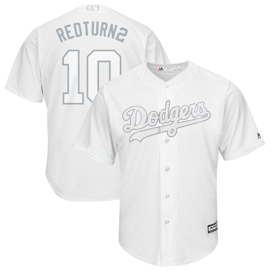 Men's Los Angeles Dodgers 10 Justin Turner RedTurn2 White 2019 Players' Weekend Player Jersey