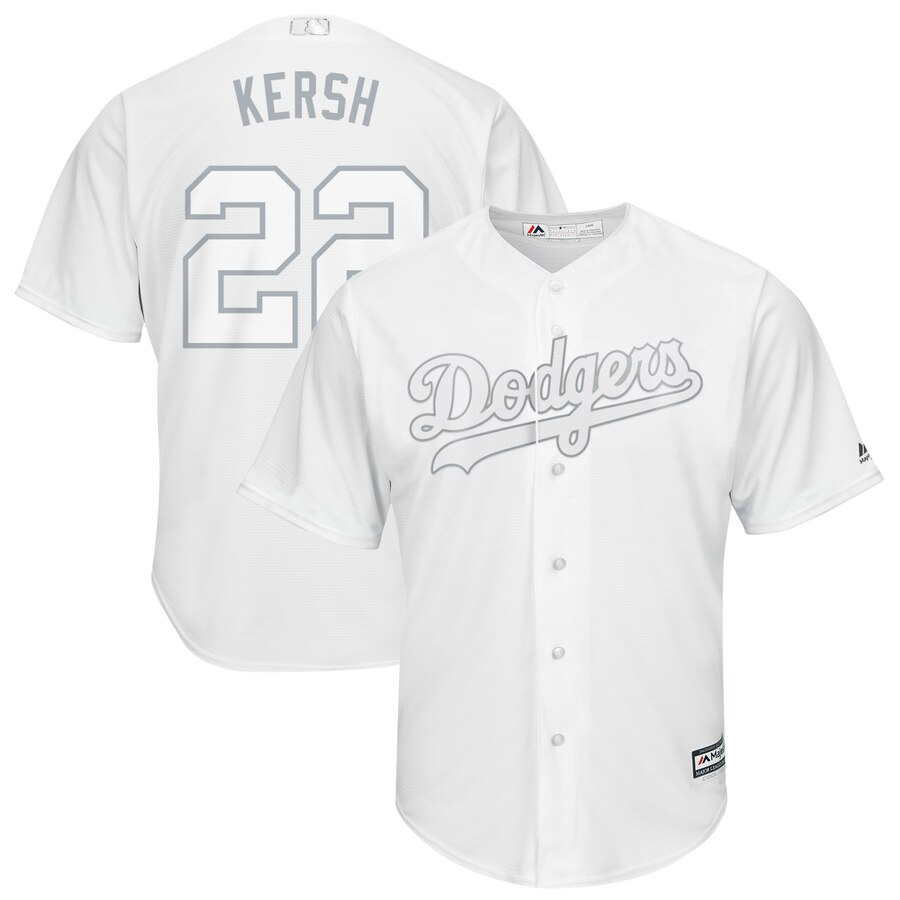 Men's Los Angeles Dodgers 22 Clayton Kershaw Kersh White 2019 Players' Weekend Player Jersey