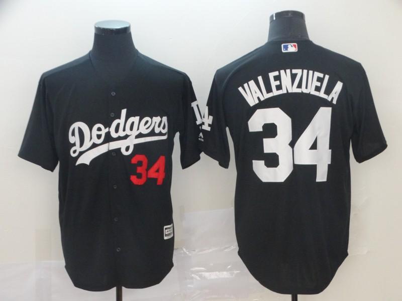 Men's Los Angeles Dodgers 34 Fernando Valenzuela Black Turn Back The Clock Cool Base Jersey