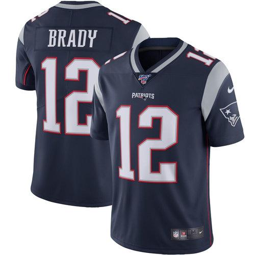Nike Patriots 12 Tom Brady Navy 100th Season Vapor Untouchable Limited Jersey