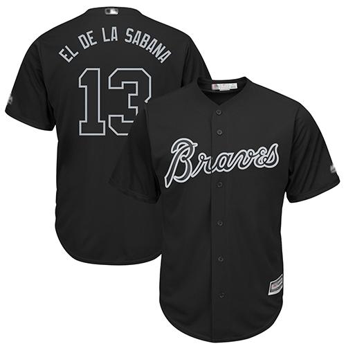 Braves #13 Ronald Acuna Jr. Black El de la Sabana Players Weekend Cool Base Stitched Baseball Jersey