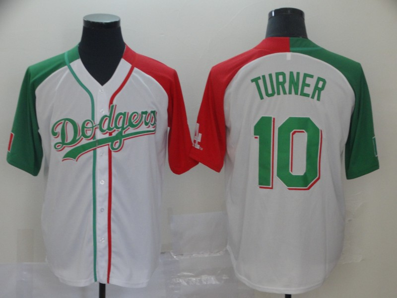 Dodgers #10 Justin Turner White Red Green Split Cool Base Stitched Baseball Jersey
