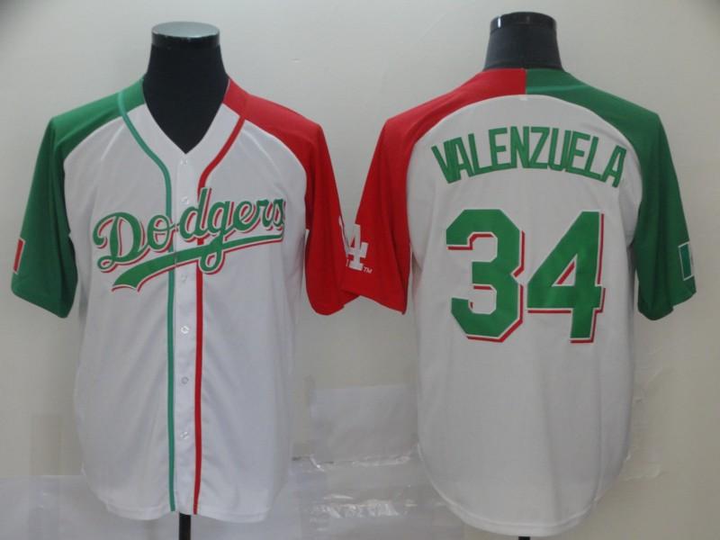 Dodgers #34 Fernando Valenzuela White Red Green Split Cool Base Stitched Baseball Jersey