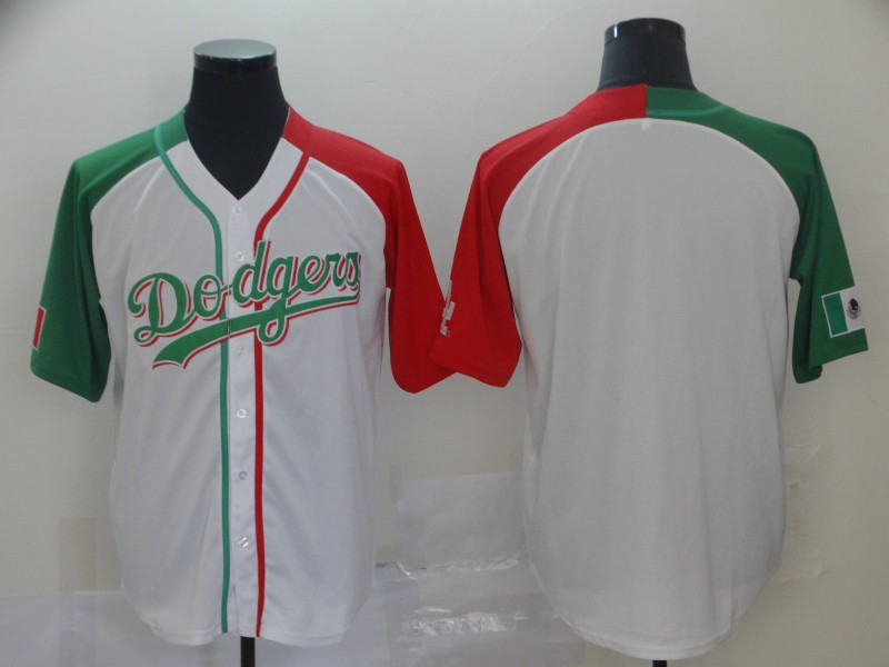 Dodgers Blank White Red Green Split Cool Base Stitched Baseball Jersey