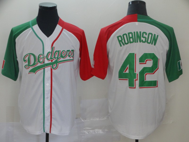 Dodgers #42 Jackie Robinson White Red Green Split Cool Base Stitched Baseball Jersey