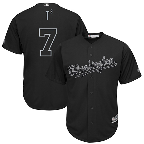 Nationals #7 Trea Turner Black T3 Players Weekend Cool Base Stitched Baseball Jersey