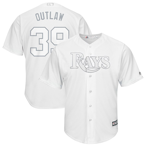 Rays #39 Kevin Kiermaier White Outlaw Players Weekend Cool Base Stitched Baseball Jersey