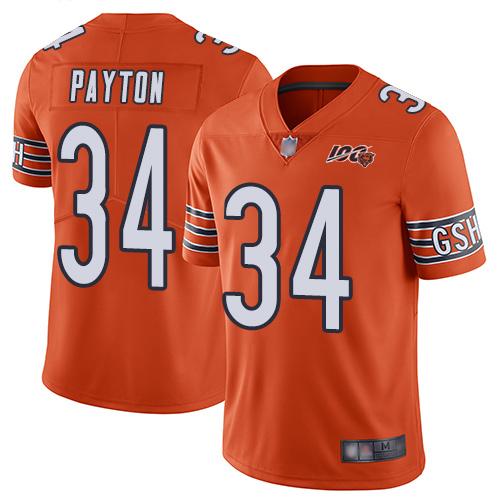 Chicago Bears #34 Walter Payton Orange Men's Stitched Football Limited Rush 100th Season Jersey
