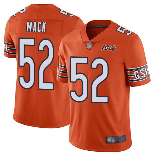 Chicago Bears #52 Khalil Mack Orange Men's Stitched Football Limited Rush 100th Season Jersey