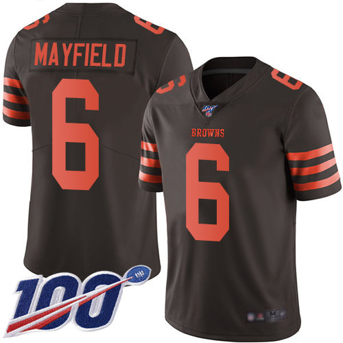 Cleveland Browns #6 Baker Mayfield Brown Men's Stitched Football Limited Rush 100th Season Jersey