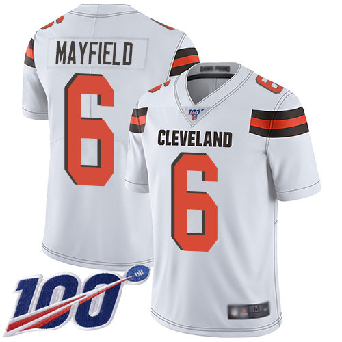 Cleveland Browns #6 Baker Mayfield White Men's Stitched Football 100th Season Vapor Limited Jersey