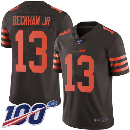 Cleveland Browns #13 Odell Beckham Jr Brown Men's Stitched Football Limited Rush 100th Season Jersey