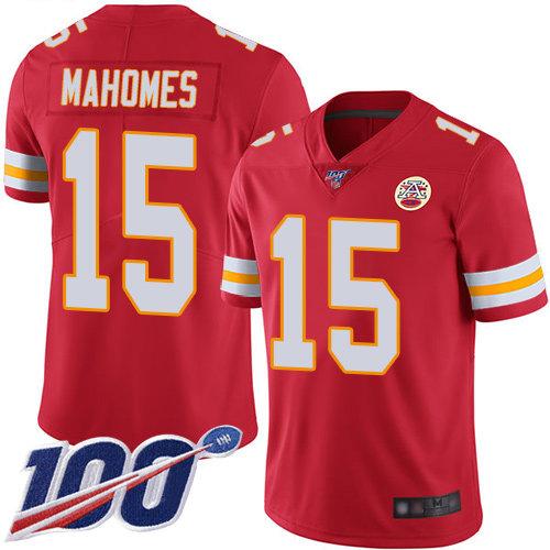 Kansas City Chiefs #15 Patrick Mahomes Red Team Color Men's Stitched Football 100th Season Vapor Limited Jersey
