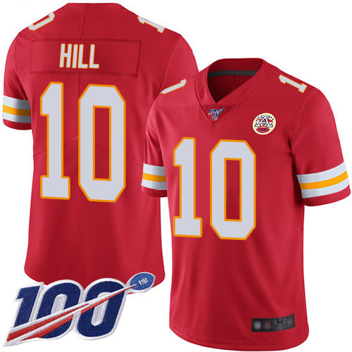 Kansas City Chiefs #10 Tyreek Hill Red Team Color Men's Stitched Football 100th Season Vapor Limited Jersey