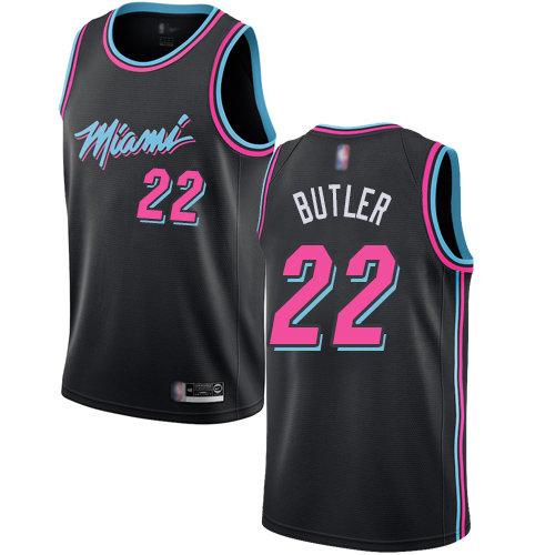 Heat #22 Jimmy Butler Black Basketball Swingman City Edition 2018-19 Jersey