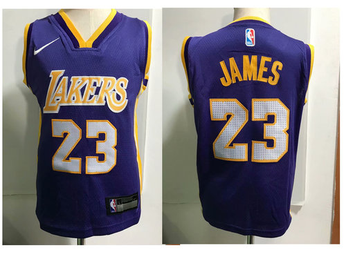 Los Angeles Lakers #23 LeBron James Purple Toddlers Jersey