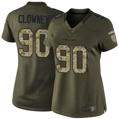Texans #90 Jadeveon Clowney Green Women's Stitched Football Limited 2015 Salute to Service Jersey